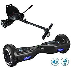 """SmartGyro X2 UL + GO KART PACK BLACK- Patín eléctrico X2 UL ( Hoverboard 6'5"""" con Ruedas Run-Flat) y Accesorio Go Kart Pro (Sillin adaptable), Negro"""