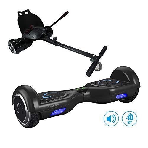 SmartGyro X2 UL + GO KART PACK BLACK- Patín eléctrico X2 UL ( Hoverboard 6'5' con Ruedas Run-Flat) y Accesorio Go Kart Pro (Sillin adaptable), Negro