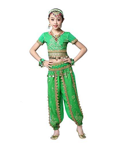 Grouptap Bollywood Mädchen bharatanatyam Stammes-Indianer Kinder Kostüm grün arabische Prinzessin Bauch Rock Outfits Kostüm (Grün, 130-155 (Kostüm Der Indischen Stämme)