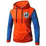 Charmley Homme Dragonball Goku Sweats à Capuche Classique Sportswear Dragonball Pull Lettre Imprimé épais Manteau pour Garçons, Orange, S