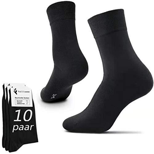Fullluwaa Socken Herren Damen 10 Paar Business Schwarz Baumwolle Lange Komfortbund (Schwarz, 43-46)