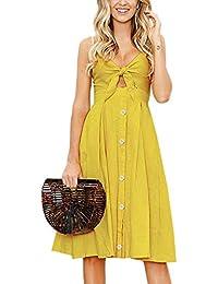 ECOWISH Damen V Ausschnitt A-Linie Kleid Träger Rückenfreies Kleider Sommerkleider Strandkleider Knielang
