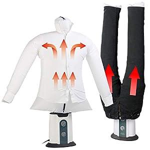 Sichler Haushaltsgeräte Oberteil-Bügelstation: 2in1-Bügelpuppe inkl. Hosen-Aufsatz, Gebläse & Kleiderständer, Timer (Hemdenbügler Bügelpuppe)