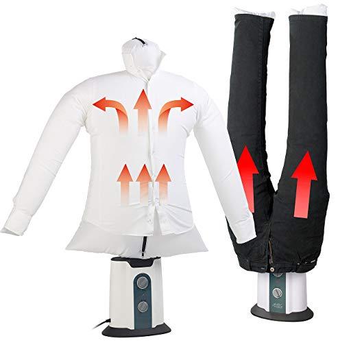 Sichler Haushaltsgeräte Bügelstation: 2in1-Bügelpuppe inkl. Hosen-Aufsatz, Gebläse & Kleiderständer, Timer (Bügelhilfe)
