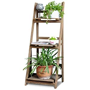 costello hq 3 tier brown ladder shelf display unit free. Black Bedroom Furniture Sets. Home Design Ideas