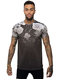 7d2d3ebac Juice Mens Longline Fit Floral Fade Graphic Print Branded T Shirt Modern Tee  Top