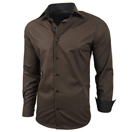 Kontrast Business Anzug Freizeit Polo Slim Fit Figurbetont Hemd Langarmhemd R-44, Farbe:Braun;Größe:L -