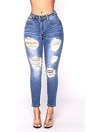 1ea0bee8250e2 Pantaloni Denim da Donna Pantaloni Strappati Attillati Abbigliamento Skinny  Elasticizzati con Tasche Bottone Slim Fit Pantaloni