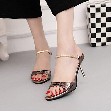 Zhenfu Sandalias Para Mujer Comfort Club Shoes Cuero Sintético Spring Summer Bañador Party & Amp; Noche Stiletto Heel White Gold Ruborizado Rosa 3a-3 3 / 4in Gold
