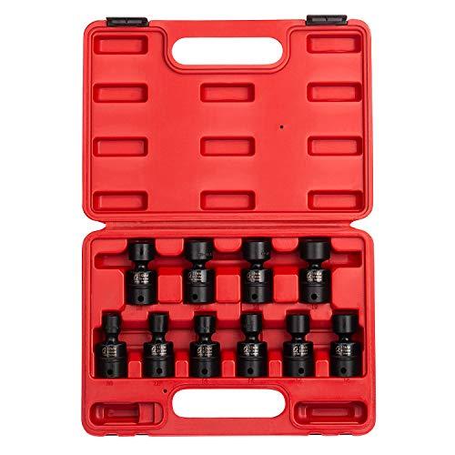 SUNEX 3657 3/20,3 cm Drive universel Douille à impact Ensemble, métrique, Standard, 6 pans, Cr-Mo, 10 mm – 19 mm, 10 pièces