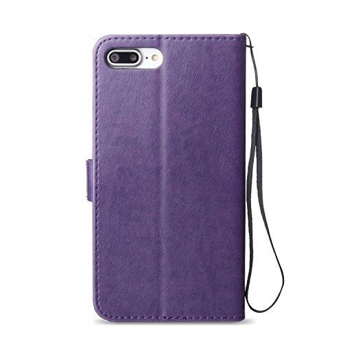 JIALUN-Telefon Fall Mit Card Slot, Lanyard, Druck Schöne Muster Mode Open Handy Shell Für IPhone7 Plus ( Color : Light Brown , Size : IPhone 7 Plus ) Purple