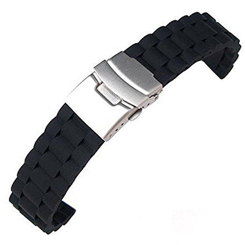 SODIAL (R) Cintura silicone impermeabile cinturino a chiusura pieghevole 20 mm, nero - Chiusura Pieghevole