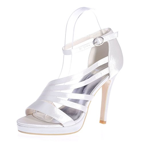 Chalmart Escarpins à bride élégant Sandales à Haut Talon Soirée Chaussures Mariage Vogue Blanc