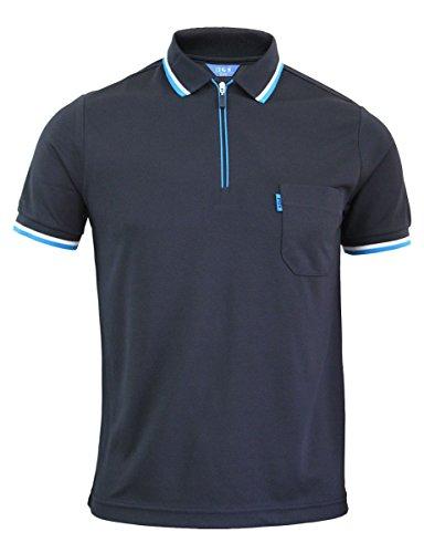 BCPOLO Frische Rei©¬verschluss neck Stil Polo Shirts Herren-Sportbekleidung Funktionelle Coolon T-shirt-navy XL (Blau Langarm-uniformhemd)