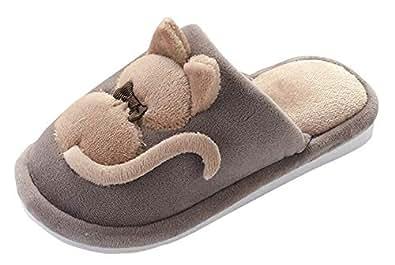 207b965d46d1a Cloud Kids Enfant Slippers en Paluche Intérieur Doux Chaussure Anti-Slip  Hiver Chaussons Chat Pantoufle