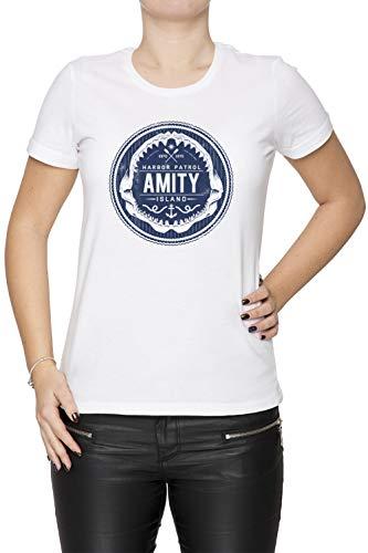 Harbor Island (Amity Island Harbor Patrol - Jaws Damen T-Shirt Rundhals Weiß Kurzarm Größe XS Women's White T-Shirt X-Small Size XS)