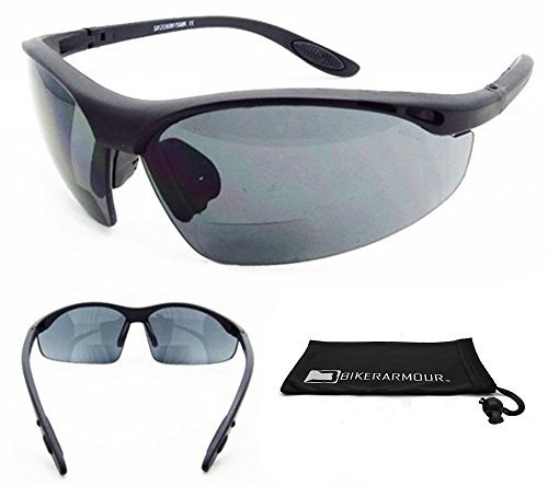 Bifocal Sunglasses 2.00 for Men and Women, Wrap around Half Frame with ANSI Z87.1 Safety Smoke Lens & Free Microfiber Cleaning Case. by Bikershades