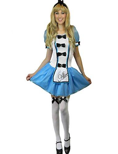 Wunderland Karneval Fasching Kostüm Damen + Strümpfe Größe 34 - 46 (34-36) (Alice Im Wunderland Kostüm Für Frauen)