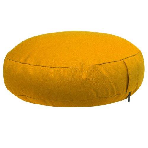 Meditationskissen RONDO extra-flach (Dinkel-Füllung) mit Velveton-Bezug, Ø 38cm, bequemes Sitzkissen, Yogakissen, niedrig, (safran-gelb)