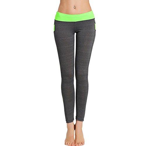 FEITONG Frauen Mittleren Taille Skinny Leggings Patchwork Yoga Hose (Grün, M) (Roll-down-yoga-hosen)