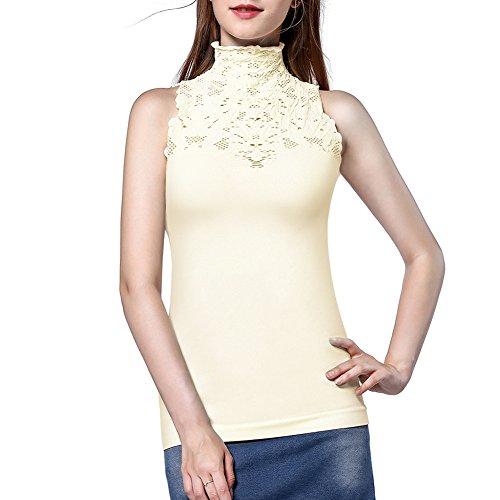 Damen-Trägershirts, Disbest Schlüsselloch Hoch Ausschnitt ärmellose Stretch Beiläufig Pullover Spitze T-Shirt, Damen Strick Weste Top(Weiß 36) (Rollkragen Weißer Top)