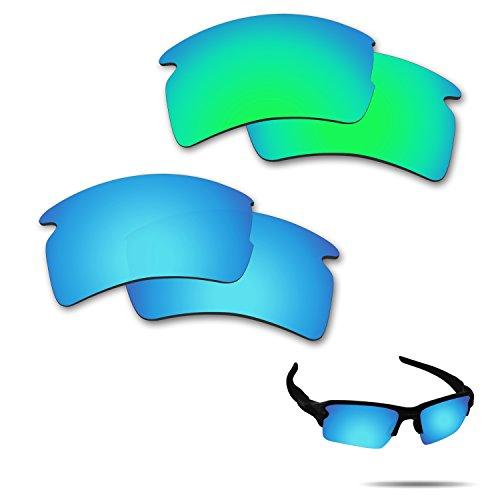 Fiskr Anti-Salzwasser polarisierte Ersatzgläser für Oakley Flak 2.0 XL Sonnenbrille 2 Paar, Herren, Ice Blue & Emerald Green, 0 US