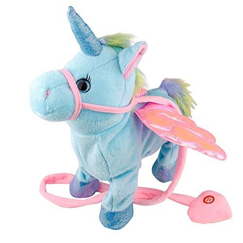 Thumbelin 1PC Giocattolo Elettrico del Fumetto Peluche Ripiene Giocattolo Animale Ballare Pony Super Carino Bambino Che Dorme Accompagnare Animale Cantare Canzone Camminare Ballare (Blu)