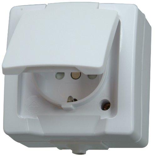 Nautic Steckdose für Feuchtraum, Aufputz, 1-fach Schutzkontakt-Steckdose mit Deckel & erhöhtem Berührungsschutz, 250V (16A), arktis-weiß, 107802006