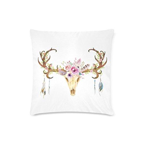 Custom calavera de ciervo cojín casos con cremallera manta fundas de almohada 16por 16pulgadas