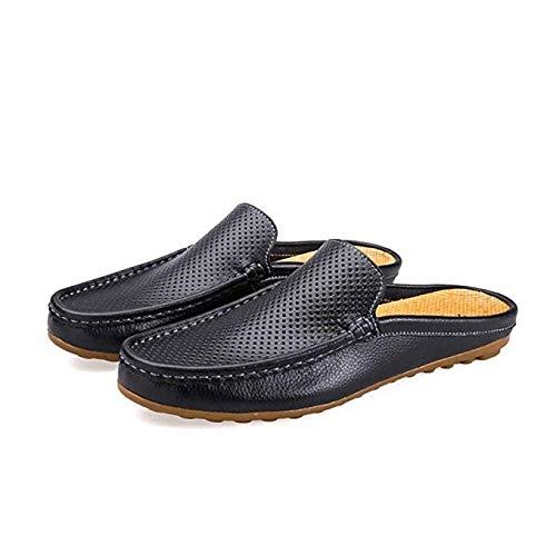 Leanax Fodera Traspirante Cool Leather Shoes Scarpe da Barca for Uomo Slip On Slipper Pelle Bovina Perforazione Processo di Cucito Soft Suola Traspirante Sand Drag Leggero Scarpe Pigri for Il Partito
