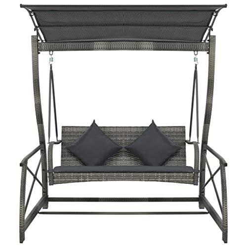 Tidyard Garten-Hollywoodschaukel Poly Rattan Grau 167×130×178 cm Gartenschaukel mit Sonnendach und 2 Kissen, Schaukelbett