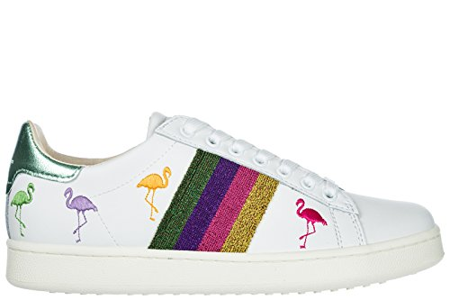 MOA Master of Arts Chaussures Baskets Sneakers Femme en Cuir Flamingo Blanc