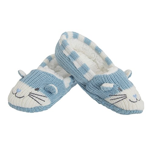 Childrens/Kids Girls Knitted Cat Design Soft Slippers With Grip (UK Child 12.5-3.5, EUR 31-36) (Blue)
