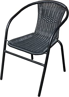 Black Outdoor Wicker Rattan Bistro Chair Metal Frame Woven Seat Indoor Outdoor - low-cost UK chair store.