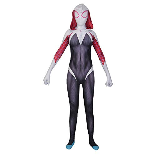 RNGNBKLS Frauen Spiderman Kostüm Halloween Cosplay Party Anzug Spandex/Lycra Spiderman Verkleidung,White-M