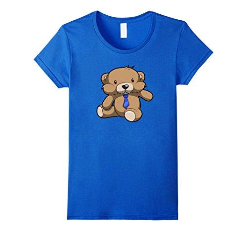 Cute Brown Teddy Bear With A Blue Necktie T Shirt Girls Boys Damen, Größe L (Brown Bear Teddy)