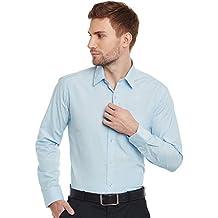 HANCOCK Sky Blue Solid Cotton Slim Fit Formal Shirt