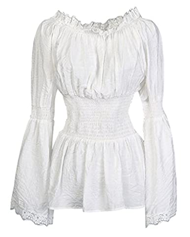 Charmian Women's Long Sleeve Off Shoulder Lace Trim Blouse Tops White Medium