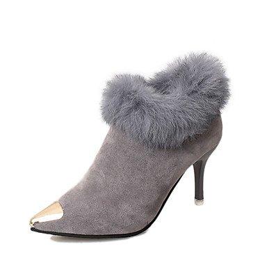 Coeur & M Femmes Chaussures Tissu Automne Hiver Confortable Cheville Bottes Stiletto Cheville Bottes Bottines Pour Casual Noir Gris Brun Foncé Noir