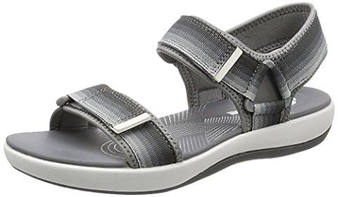 Clarks Brizo Ravena Textile Sandals In Grey Standard Fit Size 4