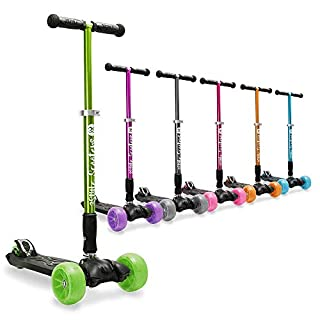 3Style Scooters® RGS-3 Big Kids Three Wheel Kick Scooter In Green - Perfect For Kids Aged 7+ - Foldable Design, 2€ Heavy Duty Black Wheels, Adjustable Height Handles