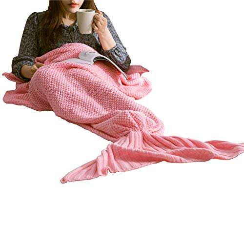 GODGETS Filles Crochet Tricoté La Laine Sirène Queue Couverture avec Écaille de Poisson, Femme Doux Chaud Canapé Blanket Sac de Couchage pour All Seasons,Rose,Bébé