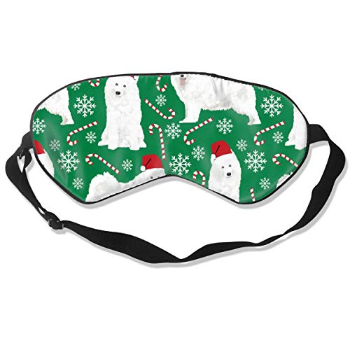 Samoyed Christmas Pepper Sticks Candy Cane Snowfla Breathable Pure Silk Sleep Eye Mask Best Sleeping Eye Cover for Travel, Nap, Blindfold with Adjustable Strap for Men, Women or Kids - Pure Care Cover Stick