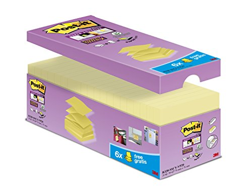 Post-it R330SY14+6 Haftnotiz Super Sticky Z-Notes, 76 x 76 mm, 20 Blöcke à 90 Blatt, gelb