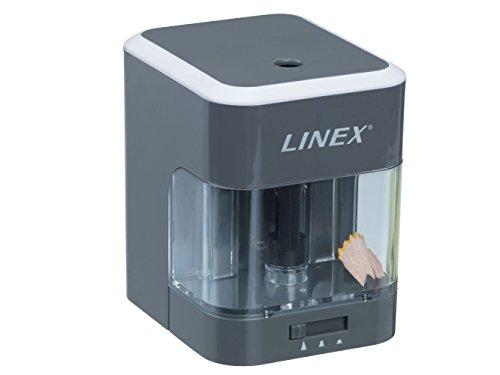 LINEX 400098694 Elektrischer Anspitzer in grau Batteriebetieben Akku Spitzer mit Auffang-Behälter Automatische Funktion