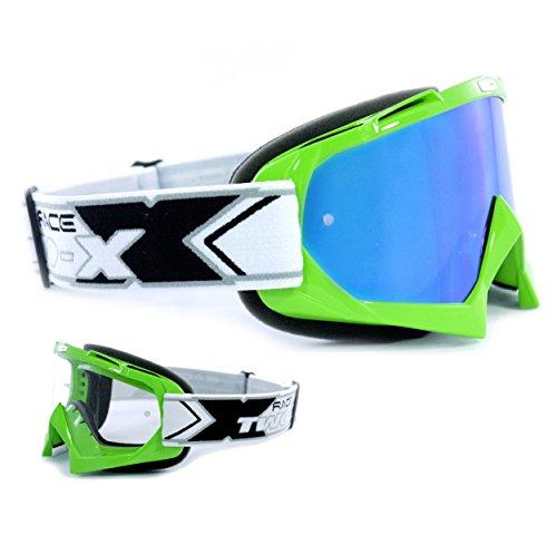 TWO-X Race Crossbrille grün Glas verspiegelt blau MX Brille Motocross Enduro Spiegelglas Motorradbrille Anti Scratch MX Schutzbrille