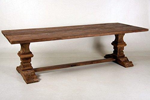 Casa-Padrino Vintage Teak Dining Table Wood Color Rustic Solid - Country-Style Table Teak, Dimensiones de la Mesa:260 x 100 cm x 78 cm H