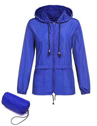 ZHENWEI Damen Leichte Jacken Wasserdicht Windbreaker Packable Outdoor Hoodie Aktiv Wandern Regenmantel - - X-Groß Packable Windbreaker