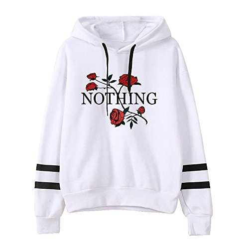 fallout kleidung Xmiral Damen Sweatshirt Herbst Langarm Hoodie Jumper Baumwollmischung Pullover Tops Bluse (M,Weiß)