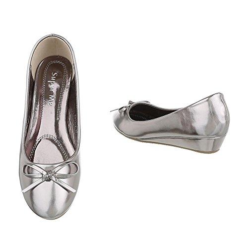 Ital-Design , chaussures compensées femme Grau Silber 6267-P